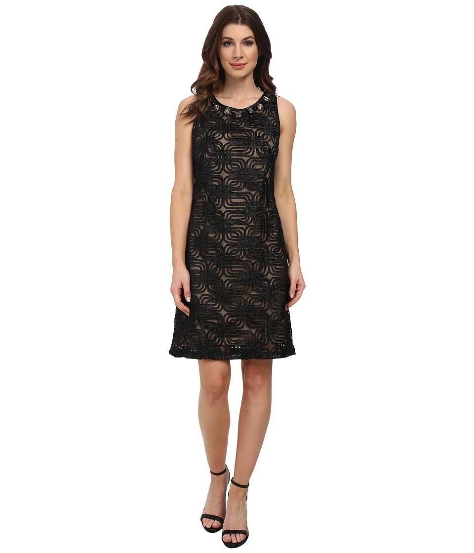 Jessica Howard - Sleeveless Sheath Dress w/ Beaded Yoke (Black) Women's Dress