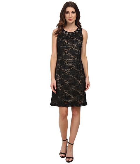 Jessica Howard - Sleeveless Sheath Dress w/ Beaded Yoke (Black) Women's Dress