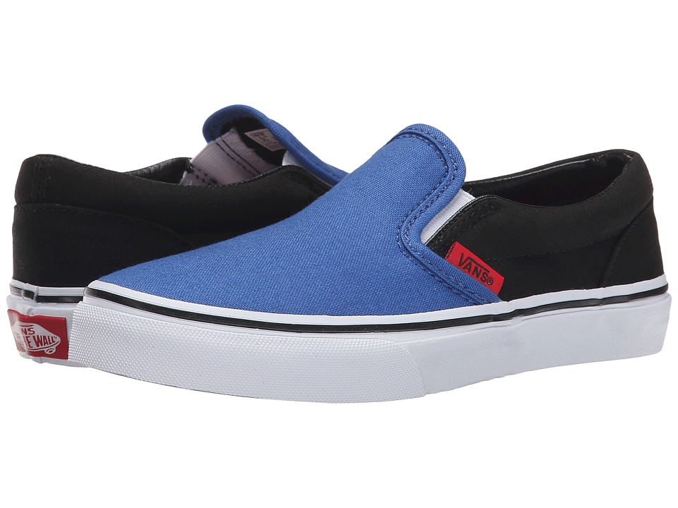 Vans Kids - Classic Slip-On (Little Kid/Big Kid) ((Canvas) Olympian Blue/Black) Boys Shoes