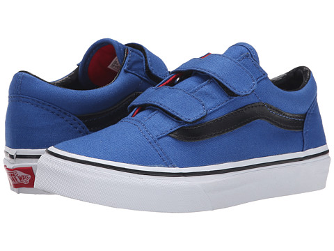 Vans Kids - Old Skool V (Little Kid/Big Kid) ((Canvas) Olympian Blue/Black) Boys Shoes