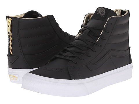 Vans - SK8-Hi Slim Zip ((Leather) Black/Gold) Skate Shoes