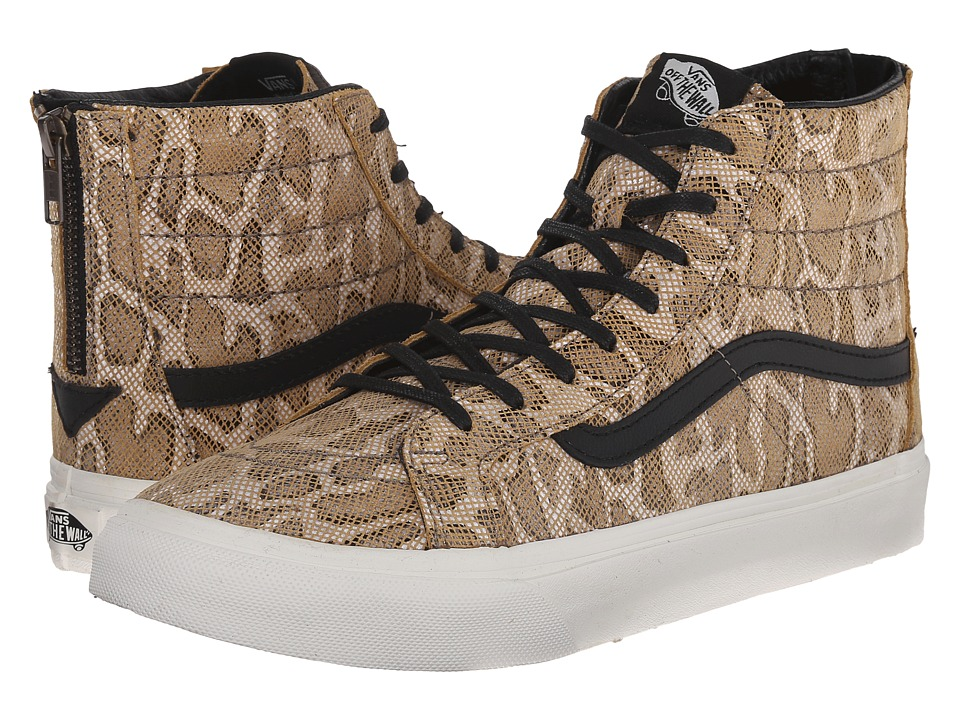 Vans - SK8-Hi Slim Zip ((Snake) Tan) Skate Shoes