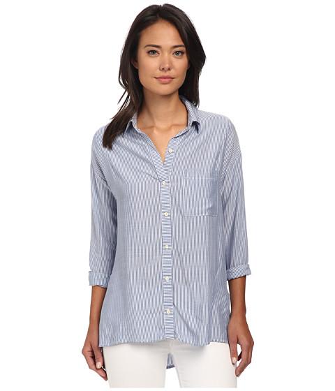 Gabriella Rocha - Janna Stripe Button Up Top (Blue) Women's Long Sleeve Button Up