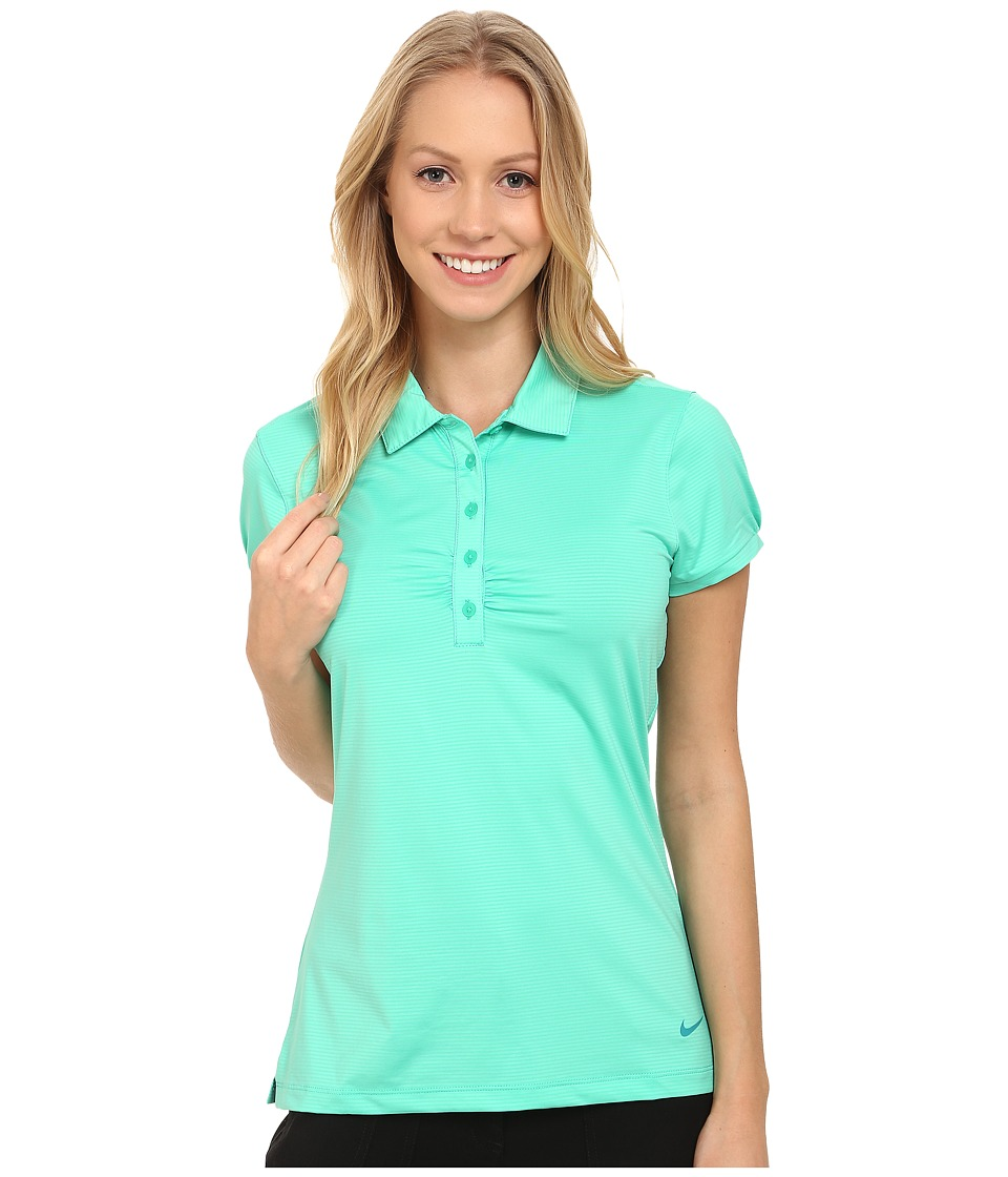 Nike Golf - Mini Stripe Polo (Emerald Glow/Radiant Emerald) Women's Short Sleeve Knit