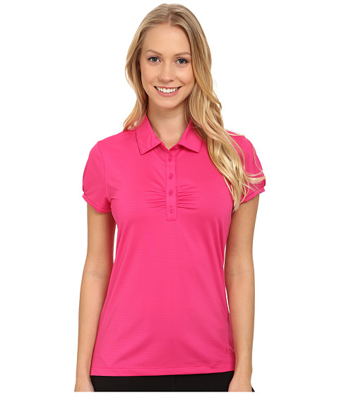 Nike Golf - Mini Stripe Polo (Vivid Pink/Sport Fuchsia) Women's Short Sleeve Knit