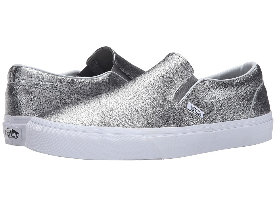 Vans - Classic Slip-On ((Foil Metallic) Silver/True White) Skate Shoes