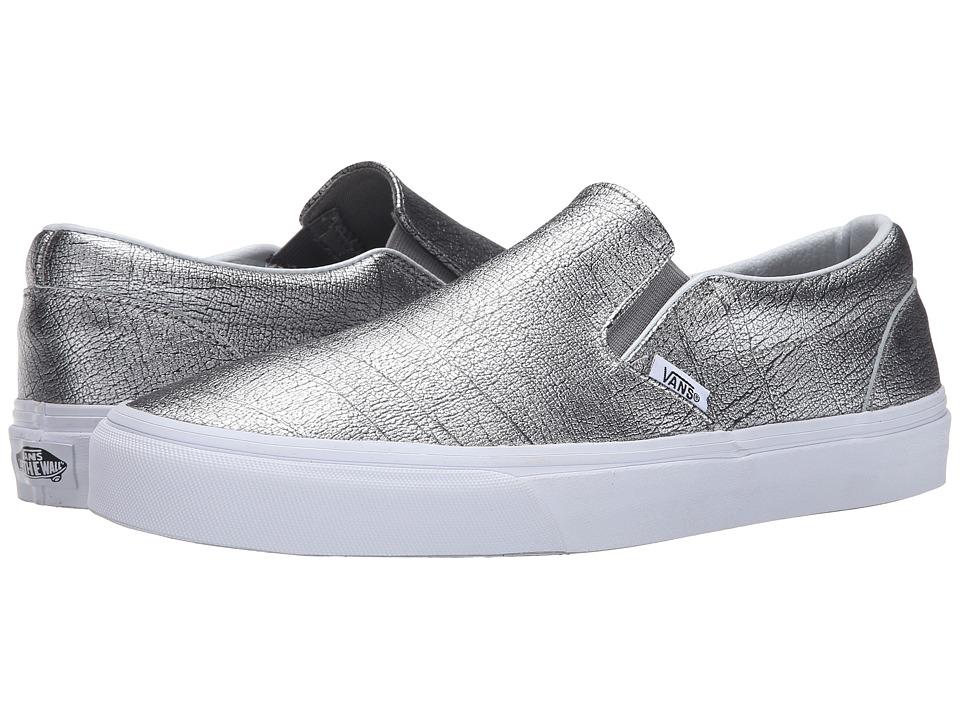Vans - Classic Slip-On ((Foil Metallic) Silver/True White) Skate Shoes