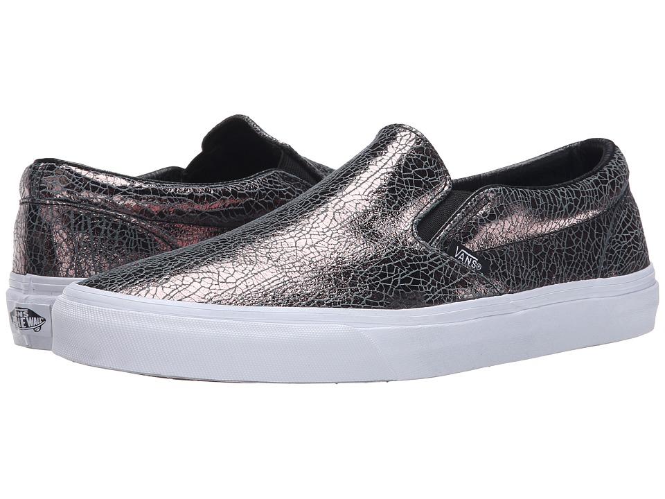 Vans - Classic Slip-On ((Cracked Metallic) Gunmetal/True White) Skate Shoes