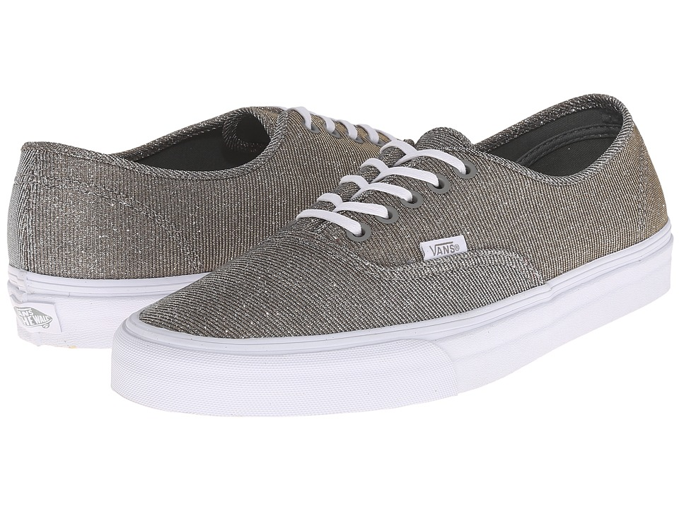 Vans - Authentic ((Glitter Textile) Gray/True White) Skate Shoes