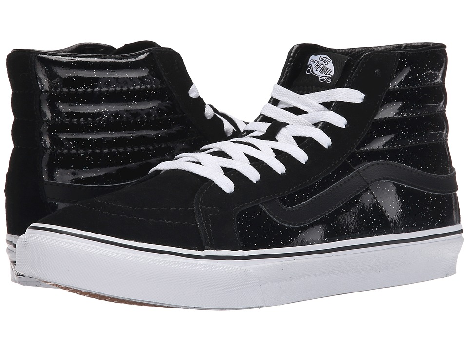 SK8-Hi Slim ((Patent Galaxy) Black/True White) Skate Shoes