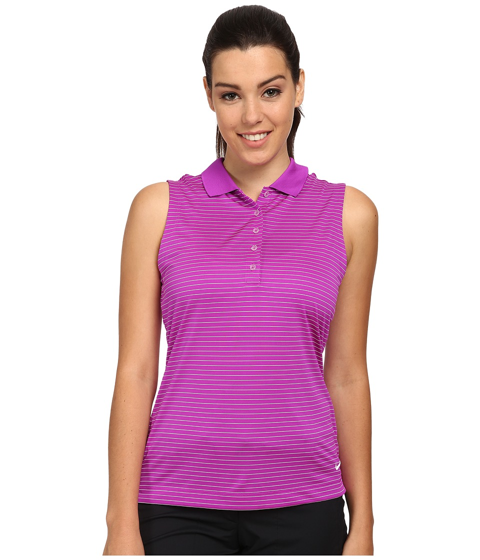 Nike Golf - Tech Sleeveless Stripe Polo (Vivid Purple/White) Women's Sleeveless