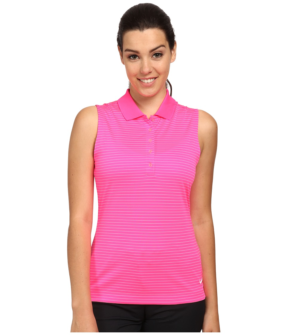 Nike Golf - Tech Sleeveless Stripe Polo (Pink Pow/White) Women's Sleeveless
