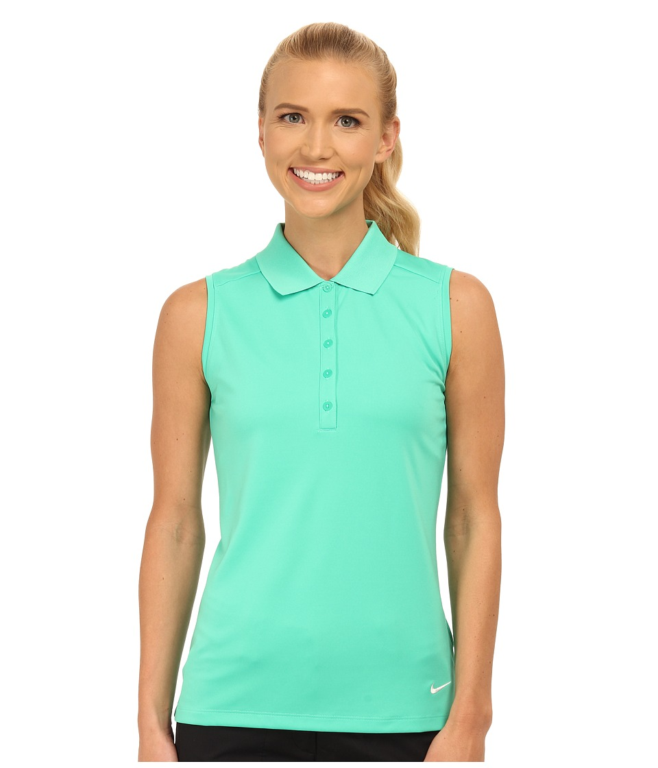 Nike Golf - Victory Sleeveless Polo (Emerald Glow/White) Women's Short Sleeve Knit