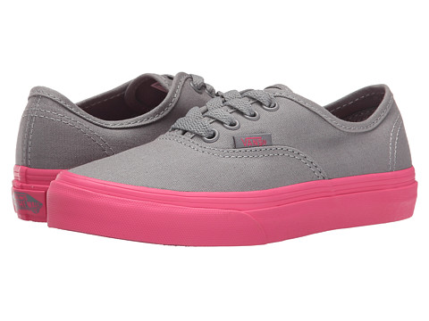 Vans Kids - Authentic (Little Kid/Big Kid) ((Pop Outsole) Frost Grey/Hot Pink) Girls Shoes