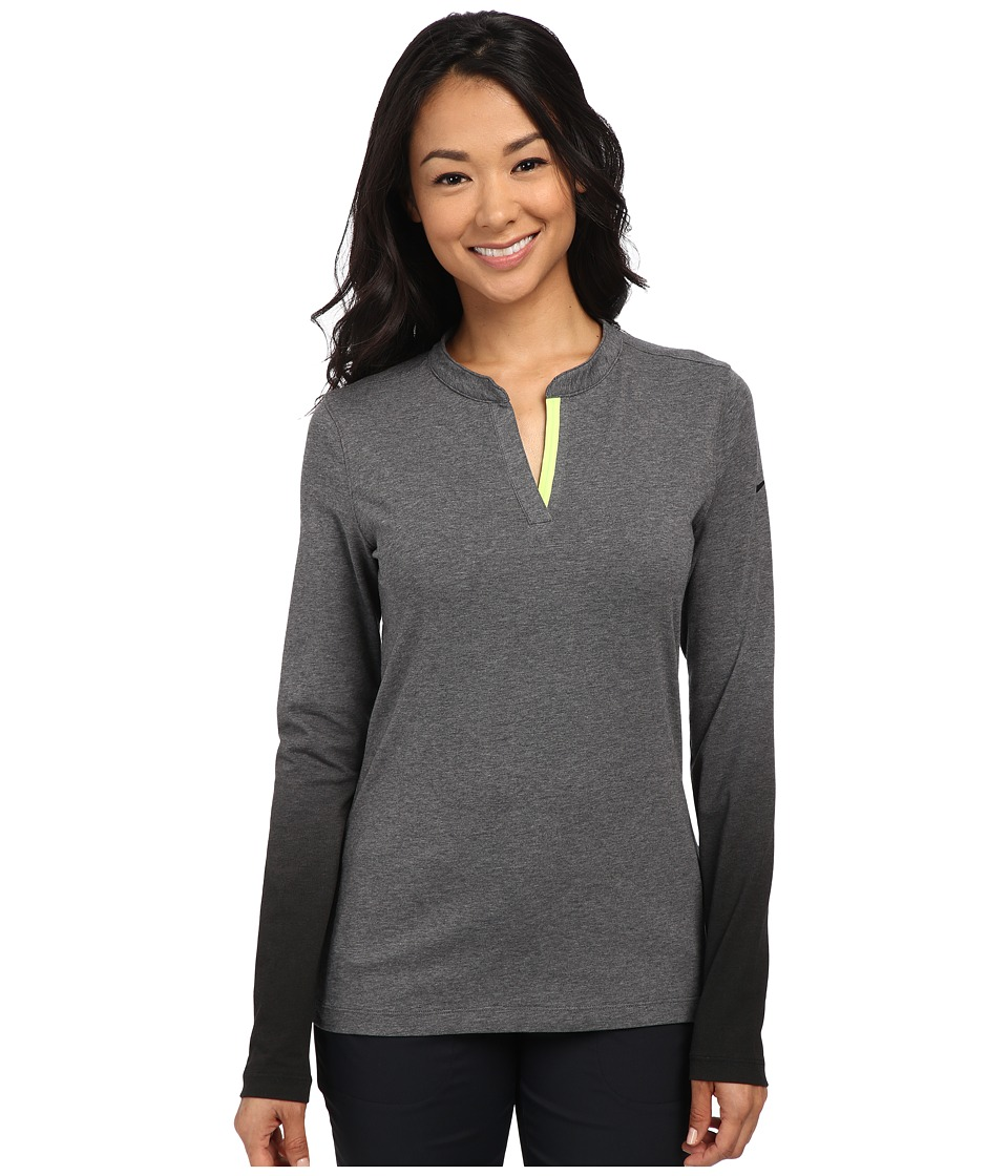 Nike Golf - Fade Long Sleeve Top (Charcoal Heather/Volt/Black) Women's Long Sleeve Pullover
