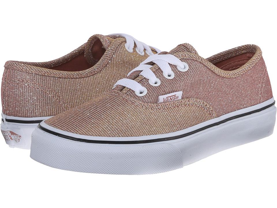 Vans Kids - Authentic (Little Kid/Big Kid) ((Glitter Textile) Rose Gold/True White) Girls Shoes