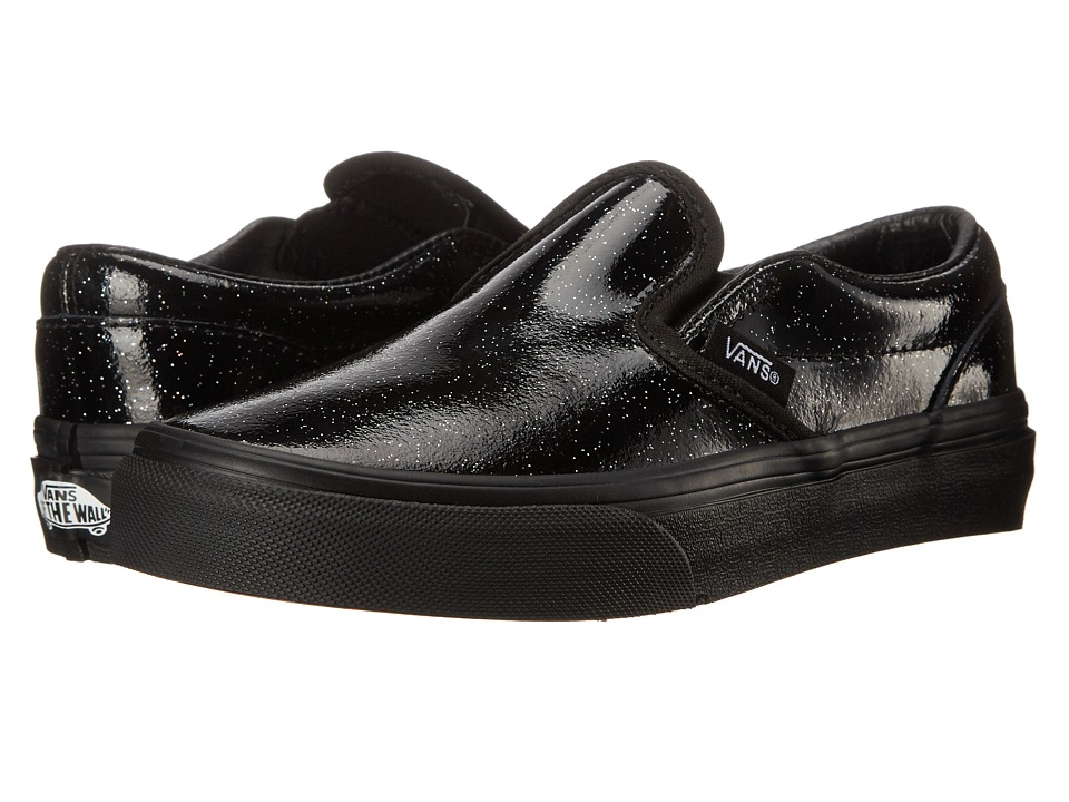 Vans Kids - Classic Slip-On (Little Kid/Big Kid) ((Patent Galaxy) Black/Black) Girls Shoes