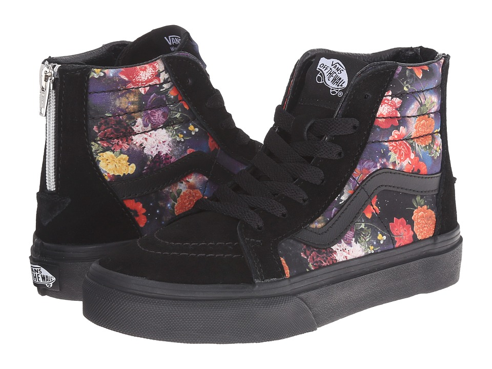 Vans Kids - Sk8-Hi Zip (Little Kid/Big Kid) ((Galaxy Floral) Black/Black) Girls Shoes