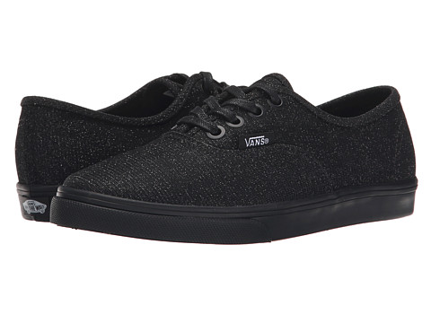 Vans Kids - Authentic Lo Pro (Little Kid/Big Kid) ((Glitter Textile) Black/Black) Girls Shoes