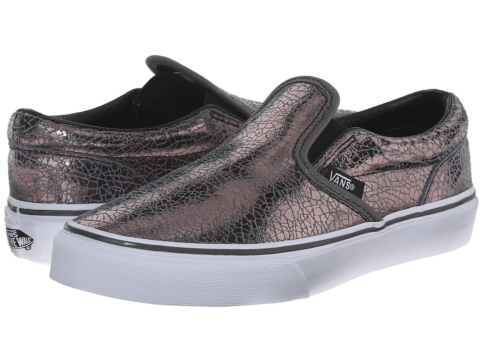Vans Kids - Classic Slip-On (Little Kid/Big Kid) ((Cracked Metallic) Gunmetal/True White) Girls Shoes