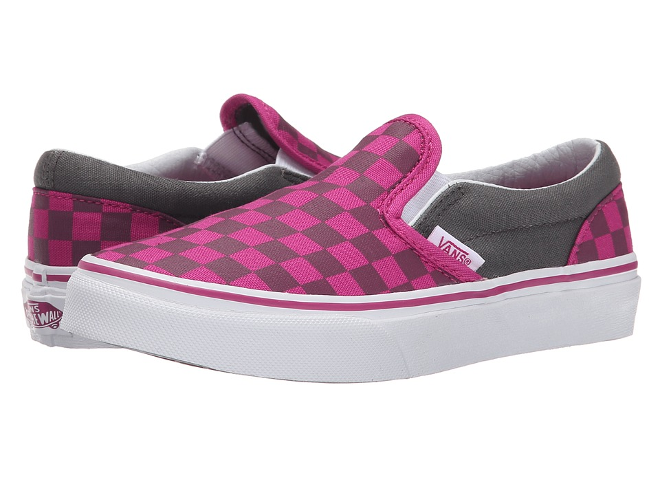 Vans Kids - Classic Slip-On (Little Kid/Big Kid) ((Checkerboard) Pewter/Fuchsia Red) Girls Shoes