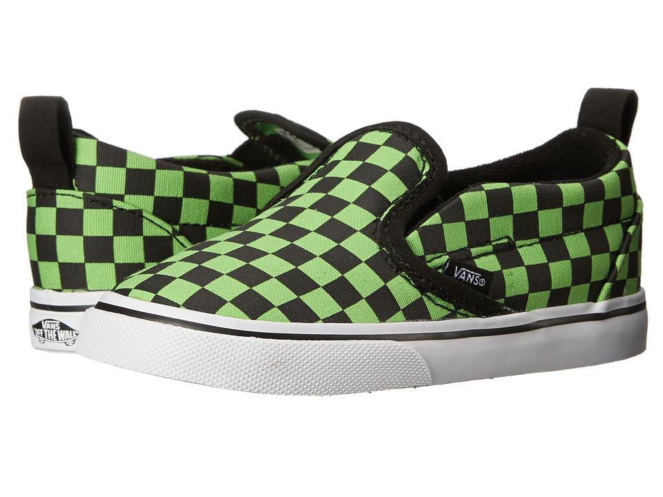 Vans Kids - Slip-On V (Toddler) ((Checkerboard) Black/Green Flash) Boys Shoes