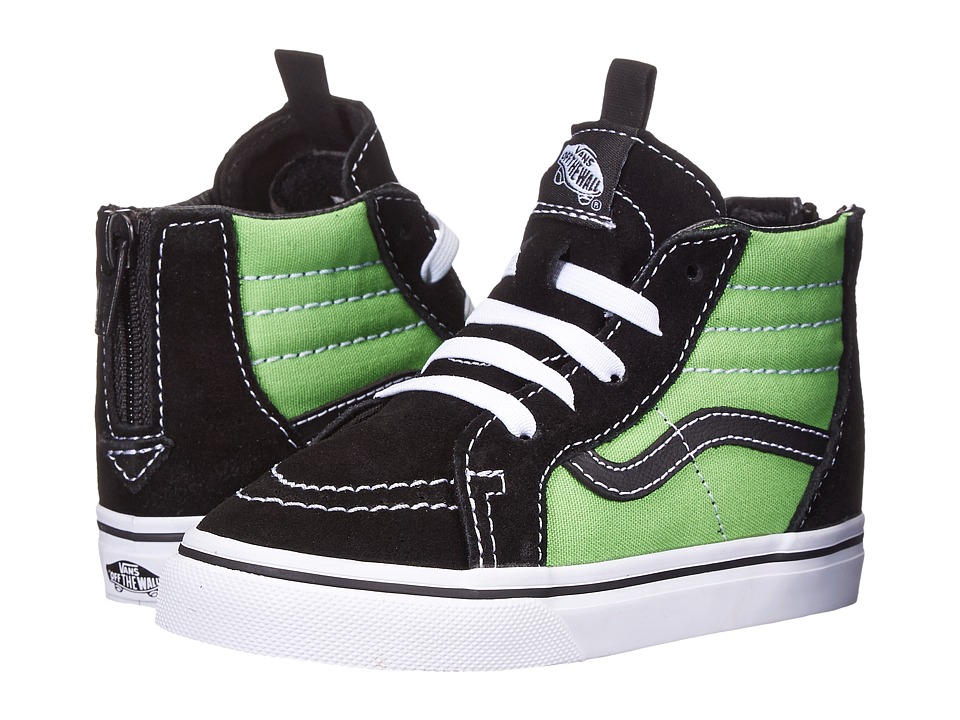 Vans Kids - Sk8-Hi Zip (Toddler) (Black/Green Flash) Boys Shoes