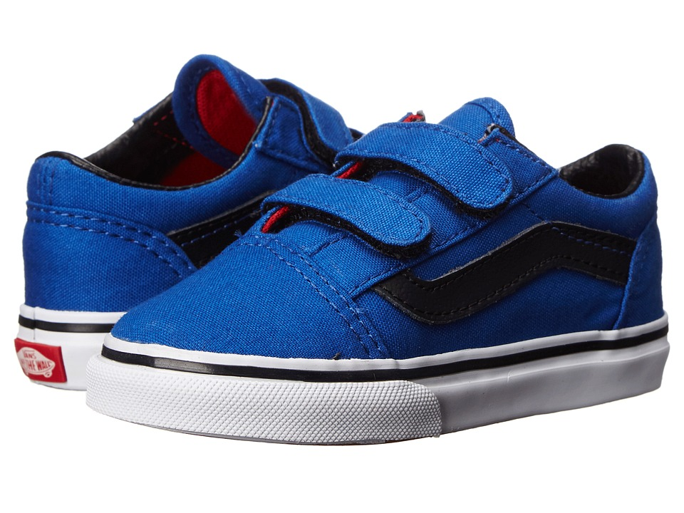 Vans Kids - Old Skool V (Toddler) ((Canvas) Olympian Blue/Black) Boys Shoes