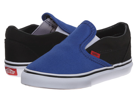 Vans Kids - Classic Slip-On (Toddler) ((Canvas) Olympian Blue/Black) Boys Shoes