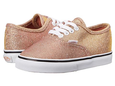 Vans Kids - Authentic (Toddler) ((Glitter Textile) Rose Gold/True White) Girls Shoes