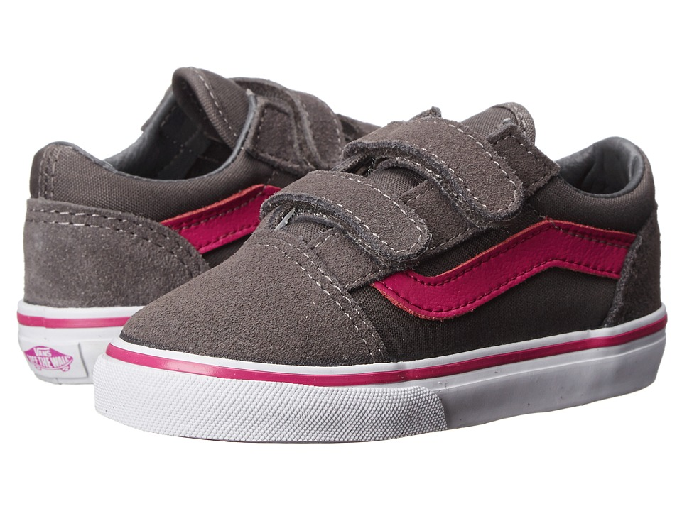 Vans Kids - Old Skool V (Infant/Toddler) ((Pop) Pewter/Fuchsia Red) Girls Shoes
