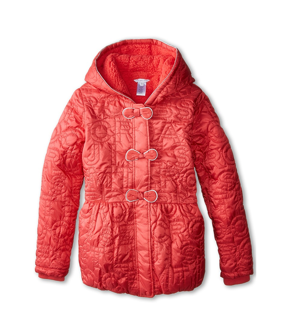 Little Marc Jacobs - Nylon Hooded Puffer (Big Kids) (Fraise) Girl's Clothing