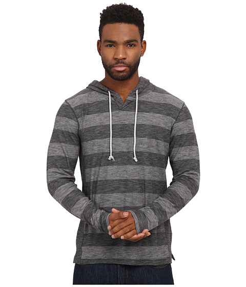 UNIONBAY - Gabe Long Sleeve Raw Jersey Notch Hoodie (Dark Medium Grey Heather) Men's Sweatshirt