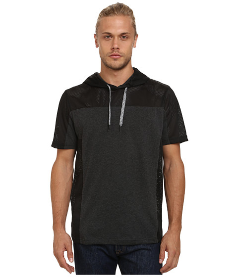 UNIONBAY - Fitz Short Sleeve Hoodie with Mesh, Color Block (Charcoal Heather) Men