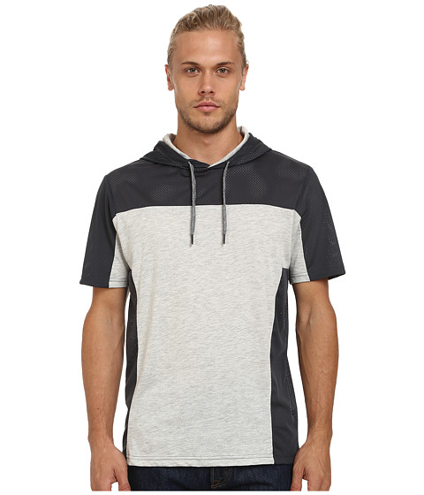 UNIONBAY - Fitz Short Sleeve Hoodie with Mesh, Color Block (Medium Grey Heather) Men