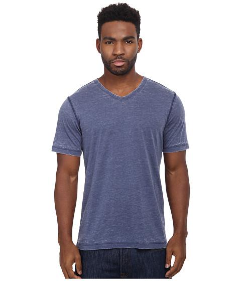 UNIONBAY - Sherman Burnout V-Neck Tee (Mendhi Blue) Men's Short Sleeve Pullover