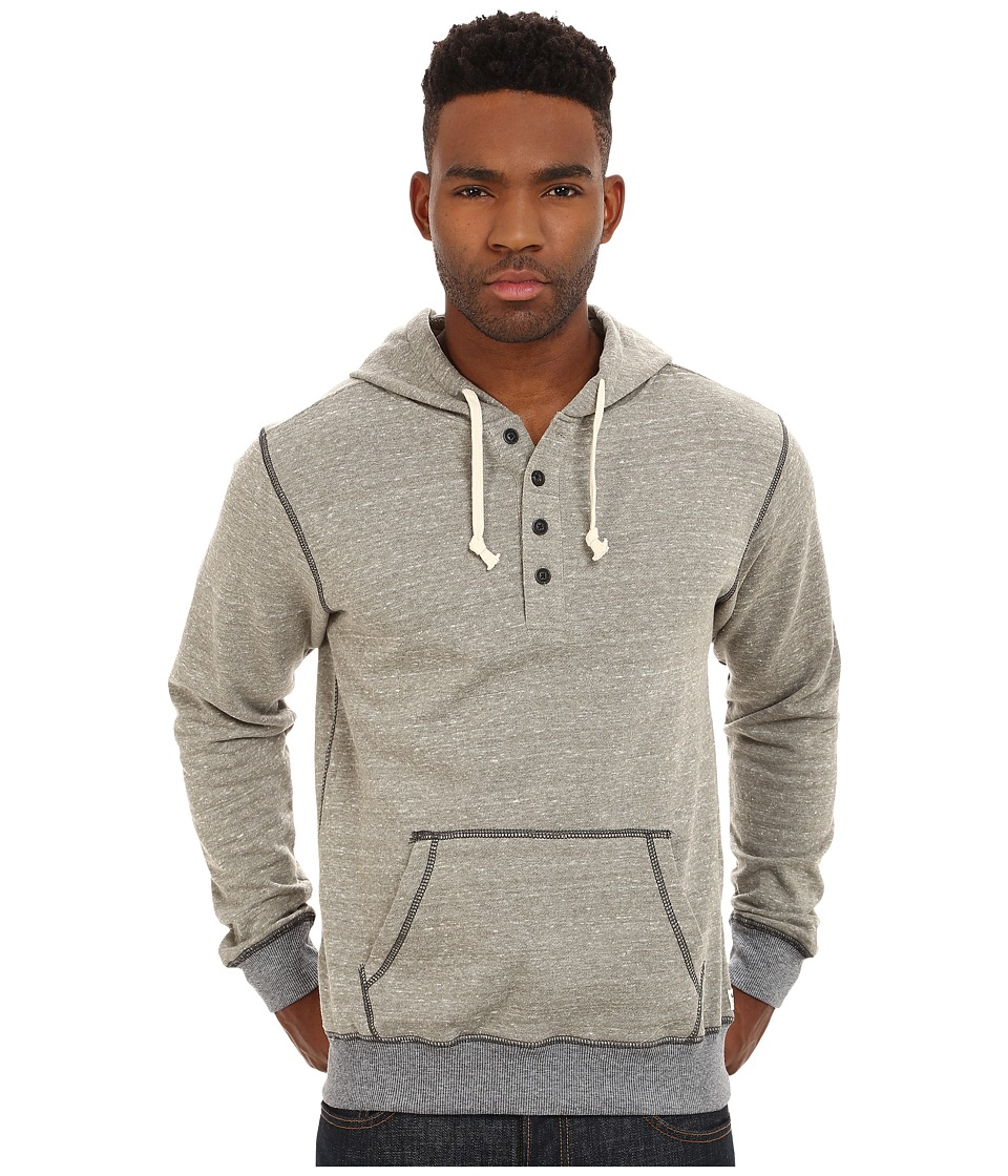 UNIONBAY - Taylor Long Sleeve French Terry Henley with Hood (Dusty Olive) Men's Long Sleeve Pullover