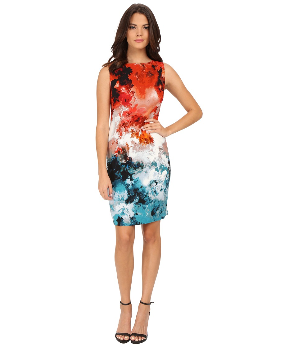 Adrianna Papell - Printed Drapey Sheath (Burnt Orange/Pool) Women's Dress