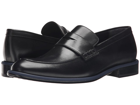Viktor & Rolf - Calf Leather Loafer with Contrast Piping (Black) Men's Slip on Shoes