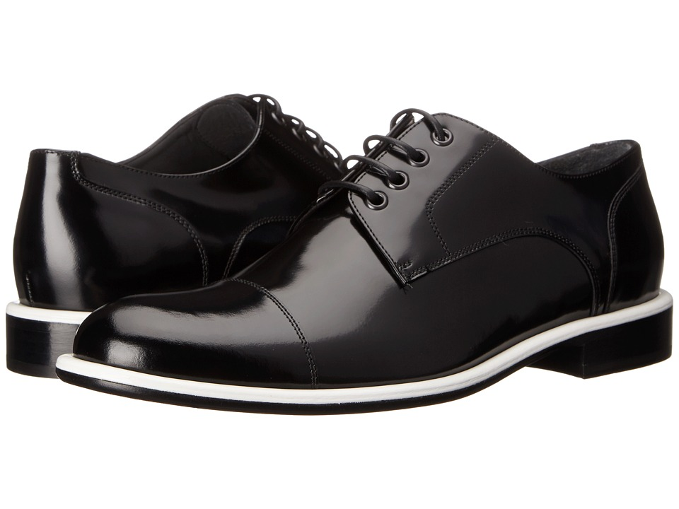 Viktor & Rolf - Brushed Leather Oxford with Contrast Piping (Black/White) Men's Lace up casual Shoes