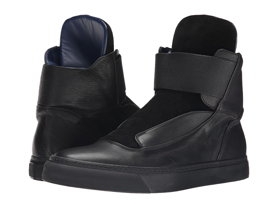 Viktor & Rolf - Suede and Leather Hi-Top with Elastic Closure (Black) Men