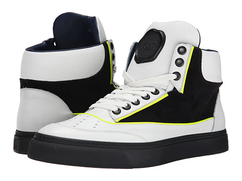 Viktor & Rolf - Suede and Leather Hi-Top Sneaker (Black/White) Men's Lace up casual Shoes