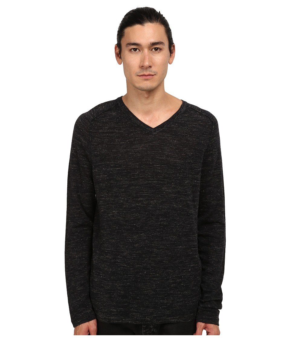 Vince - Wool Linen Jaspe V-Neck (Heather Charcoal) Men's Sweater