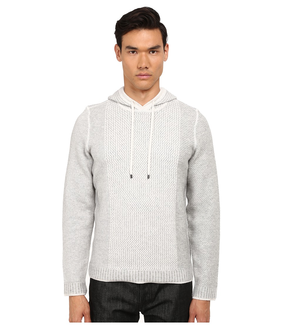 Vince - Wool Cashmere Engineered Hoodie (Heather White/Heather Steel) Men's Sweatshirt