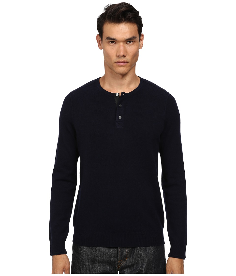 Vince - Wool Cashmere Stitch Mix Henley (Coastal) Men's Sweater