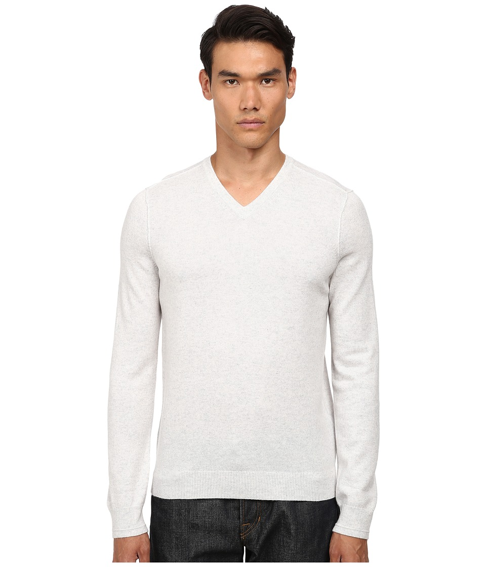 Vince - Cashmere V-Neck (Heather White) Men's Sweater