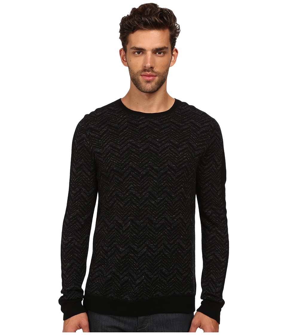 Vince - Wool Linen Chevron Crew (Heather Charcoal) Men's Sweater