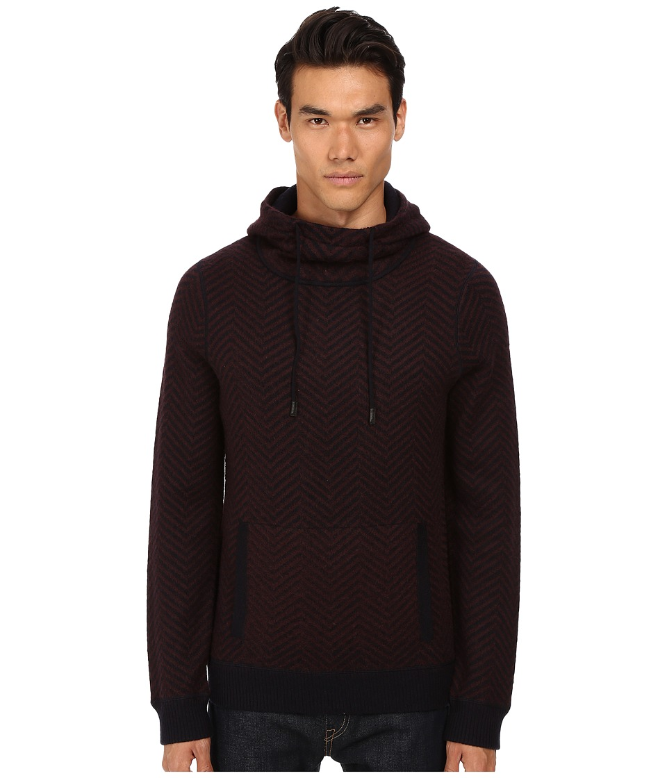 Vince - Brushed Mohair Pullover Hoodie (Black Cherry) Men's Sweatshirt