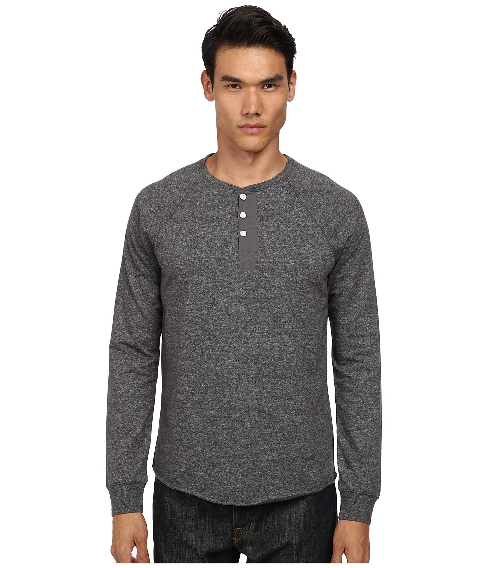 Vince - Long Sleeve Henley (Heather Carbon) Men's Long Sleeve Pullover