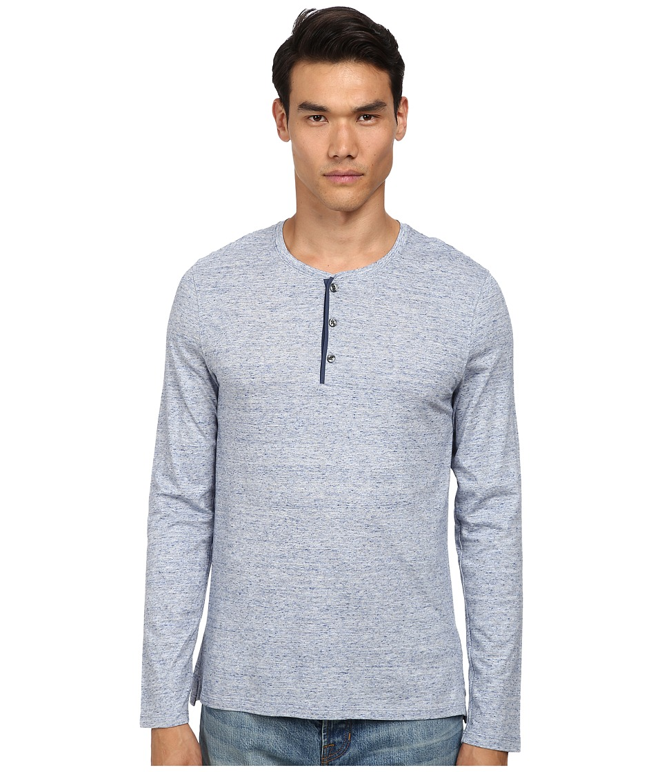 Vince - Long Sleeve Henley (Heather Blue) Men's Long Sleeve Pullover